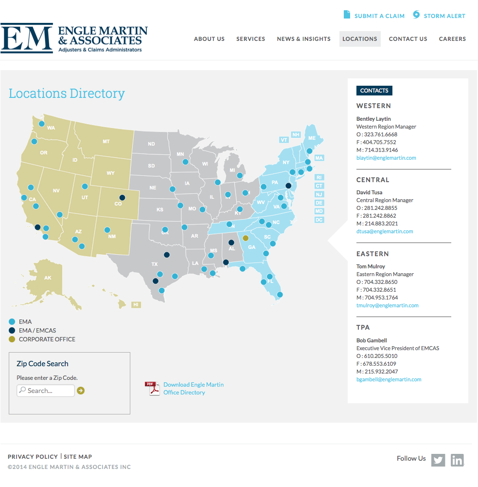 Engle Martin & Associates Custom Locations Directory WordPress Plugin